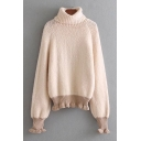 Chic Simple Contrast Hem Turtleneck Long Sleeve Pullover Sweater