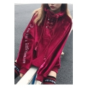 New Stylish Lace-Up Letter Print Velvet  Long Sleeve Pullover Sweatshirt