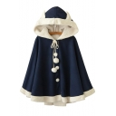 New Fashion Color Block Buttons Down Hooded Long Sleeve Woolen Ear Pompom Cape
