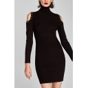 New Stylish Studded Cold Shoulder Long Sleeve Plain Knitted Dress