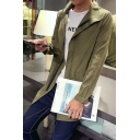Men's Fashion Stand-up Collar Long Sleeves Plain Zip-up Jacket with Pockets