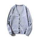 Casual V-Neck Single-Breasted Ribbed Hem Plain Long Sleeves Cardigan