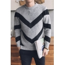 Chic Crew Neck Long Sleeves Contrast Stripes Knitted Pullover Sweater