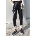 Cool Elastic Waist Faux Fur Trimmed Plain Leather Pants