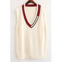 Contrast Hem V-Neck Sleeveless Sweater Vest