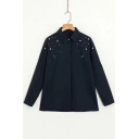 Simple Plain Pearl Embellished Lapel Long Sleeve Buttons Down Shirt