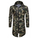 New Stylish Camouflage Print Zipper Long Sleeve Tunic Hoodie