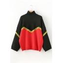 Color Block Letter Print Long Sleeve Turtleneck Pullover Sweater