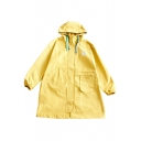 Fashionable Long Sleeve Drawstring Hood Embroidered Pattern Tunic Coat