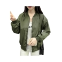 Fashion Letter Print Long Sleeve Stand-Up Collar Zipper Jacket