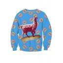 Leisure Alpaca Print Round Neck Long Sleeve Pullover Sweatshirt