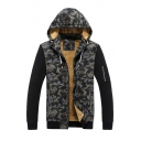 Chic Color Block Camouflage Long Sleeve Zipper Hooded Coat