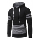 Fashionable Drawstring Hood Long Sleeve Patchwork Unisex Hoodie