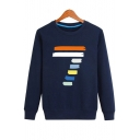 Chic Color Block Number Print Round Neck Casual Unisex Pullover Sweatshirt