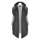 New Fashion Color Block Panel Hooded Open Front Long Sleeve Coat