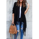 New Fashion Simple Plain Open Front Tassel Hem Long Sleeve Coat