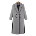 New Stylish Notched Lapel Split Side Double Breasted Plain Tunic Coat