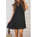 New Stylish Round Neck Cutout Detail Simple Plain Dress