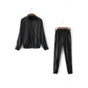 Zip Up Striped Side Long Sleeve Baseball Coat with Drawstring Waist Pants