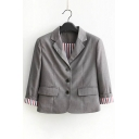 Simple Notch Lapel Long Sleeve Buttons Down Blazer