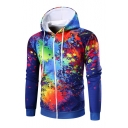 New Fashion Leisure Graphic Pattern Zip Up Long Sleeve Hoodie