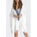 New Fashion Tribal Print Crisscross Deep V-Neck Tassel Hem Cover Up