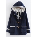 Fashion Striped Trim Single Breasted Long Sleeve Flap Pocket Hooded Wool Coat