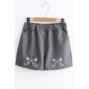 New Fashion Cartoon Cat Embroidered Elastic Waist Shorts