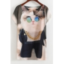 New Fashion Lovely Cat Print Round Neck Short Sleeve Tee