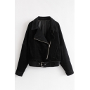 New Stylish Notched Lapel Long Sleeve Simple Plain Zipper Biker Jacket