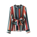 Chic Color Block Striped Print Bow Tie Long Sleeve Round Neck Blouse