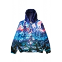 New Fashion Landscape Print Zip Placket Long Sleeve Coat