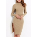 New Stylish Long Sleeve Mock Neck Simple Plain Split Side Bodycon Dress