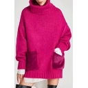 New Stylish Turtleneck Long Sleeve Faux Fur Pocket Plain Sweater