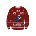 New Fashion Christmas Gorilla Cartoon Print Long Sleeve Pullover Sweatshirt