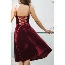 Chic Simple Plain Crisscross Back Spaghetti Straps A-line Velvet Midi Dress