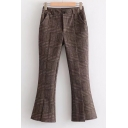 Chic Plaid Zip Fly Split Front Flare Pants