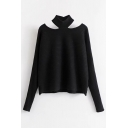 New Fashion Simple Plain Halter Hollow Out Long Sleeve Pullover Sweater