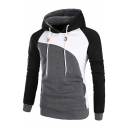 Color Block Raglan Long Sleeves Side-Pockets Pullover Hoodie