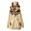 New Fashion Color Block Graphic Pattern Long Sleeve Horn Hoodie