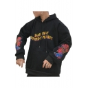Chic Embroidered Pattern Letter Long Sleeve Pocket Hoodie for Couple