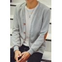 Leisure Simple Elbow Patchwork Buttons Down Long Sleeve Cardigan