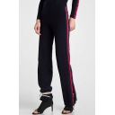 Leisure Striped Side Elastic Waist Pants