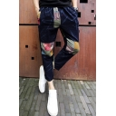 Leisure Color Block Drawstring Waist Pants