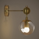 Industrial Mini Wall Sconce with Globe Glass Shade in Gold Finish
