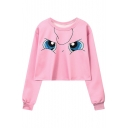New Stylish Cartoon Face Print Round Neck Long Sleeve Cropped Pullover Sweatshirt