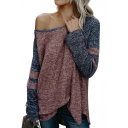 Color Block One Shoulder Ribbed Long Sleeve Pullover Sweater