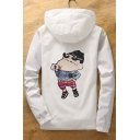 Funny Cartoon Print Hooded Zip Up Long Sleeve Coat