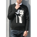 New Trendy Graphic Pattern Round Neck Long Sleeve Pullover Sweater