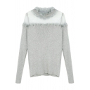 Chic Ruffle Round Neck Sheer Mesh Panel Long Sleeve Pullover Sweater
